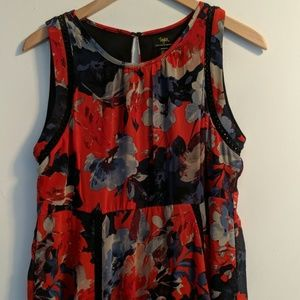 Red Floral Maternity Dress, Size M